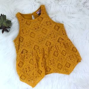 Love On A Hanger Mustard Yellow Lace Top {KB}